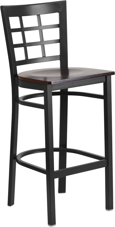 ERGONOMIC HOME TOUGH ENOUGH Series Black Window Back Metal Restaurant Barstool - Walnut Wood Seat <b><font color=green>50% Off Read More Below...</font></b>