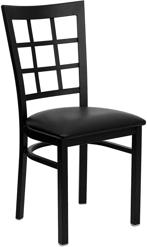 ERGONOMIC HOME TOUGH ENOUGH Series Black Window Back Metal Restaurant Chair - Black Vinyl Seat <b><font color=green>50% Off Read More Below...</font></b>