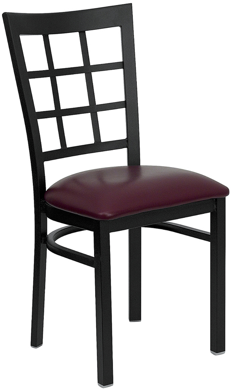 ERGONOMIC HOME TOUGH ENOUGH Series Black Window Back Metal Restaurant Chair - Burgundy Vinyl Seat <b><font color=green>50% Off Read More Below...</font></b>