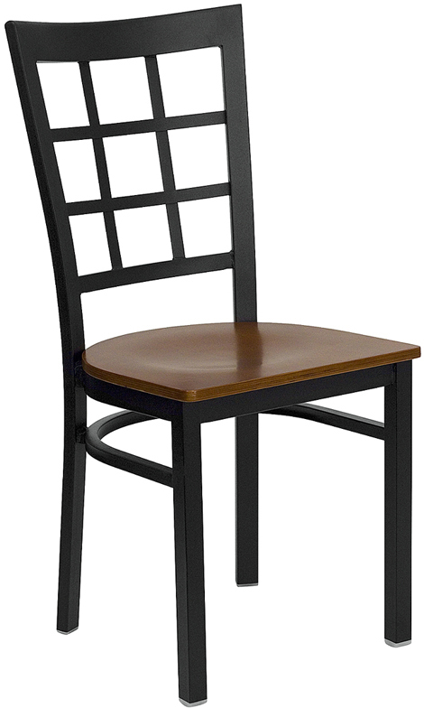 ERGONOMIC HOME TOUGH ENOUGH Series Black Window Back Metal Restaurant Chair - Cherry Wood Seat <b><font color=green>50% Off Read More Below...</font></b>