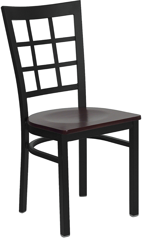 ERGONOMIC HOME TOUGH ENOUGH Series Black Window Back Metal Restaurant Chair - Mahogany Wood Seat <b><font color=green>50% Off Read More Below...</font></b>