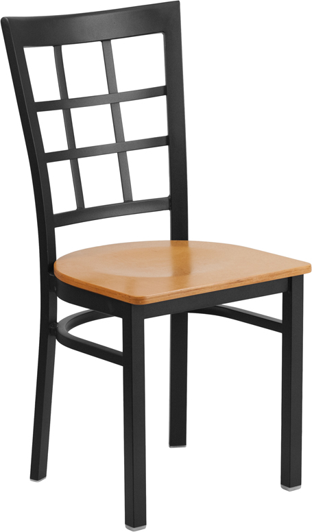 ERGONOMIC HOME TOUGH ENOUGH Series Black Window Back Metal Restaurant Chair - Natural Wood Seat <b><font color=green>50% Off Read More Below...</font></b>