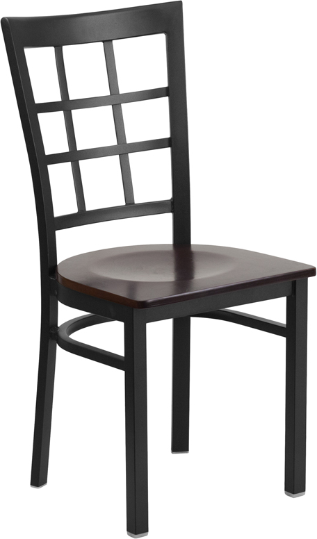 ERGONOMIC HOME TOUGH ENOUGH Series Black Window Back Metal Restaurant Chair - Walnut Wood Seat <b><font color=green>50% Off Read More Below...</font></b>
