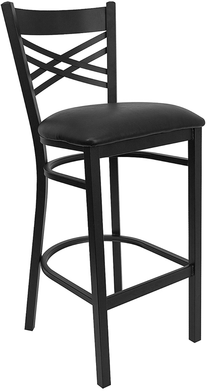 ERGONOMIC HOME TOUGH ENOUGH  Series Black ''X'' Back Metal Restaurant Barstool - Black Vinyl Seat