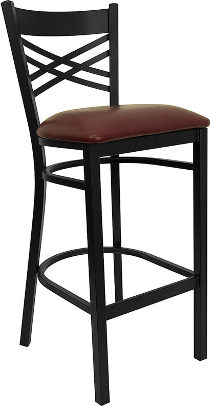 ERGONOMIC HOME TOUGH ENOUGH  Series Black ''X'' Back Metal Restaurant Barstool - Burgundy Vinyl Seat