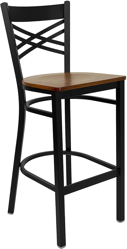 ERGONOMIC HOME TOUGH ENOUGH Series Black ''X'' Back Metal Restaurant Barstool - Cherry Wood Seat