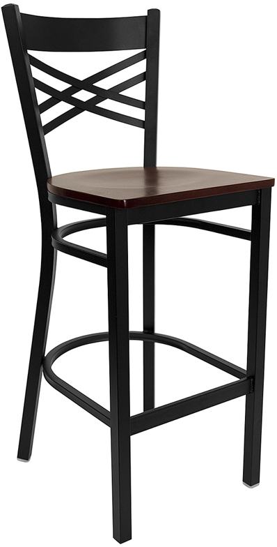 ERGONOMIC HOME TOUGH ENOUGH Series Black ''X'' Back Metal Restaurant Barstool - Mahogany Wood Seat