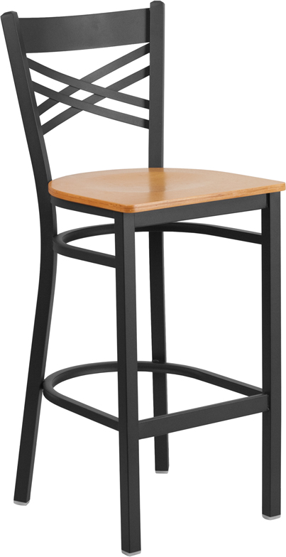 ERGONOMIC HOME TOUGH ENOUGH Series Black ''X'' Back Metal Restaurant Barstool - Natural Wood Seat