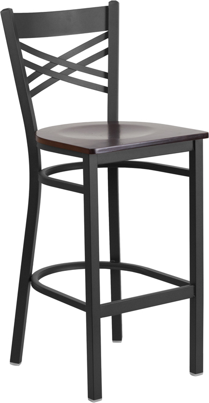 ERGONOMIC HOME TOUGH ENOUGH Series Black ''X'' Back Metal Restaurant Barstool - Walnut Wood Seat