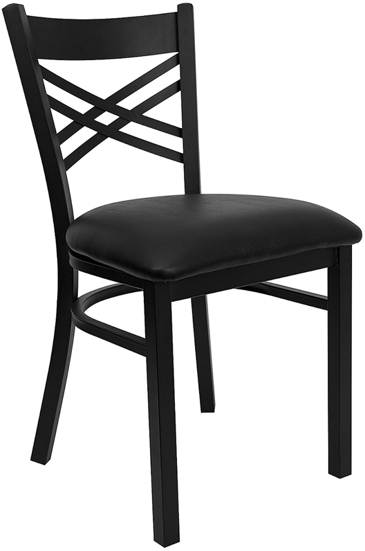 ERGONOMIC HOME TOUGH ENOUGH Series Black ''X'' Back Metal Restaurant Chair - Black Vinyl Seat