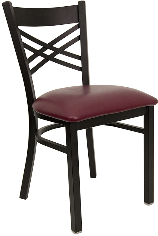 ERGONOMIC HOME TOUGH ENOUGH Series Black ''X'' Back Metal Restaurant Chair - Burgundy Vinyl Seat