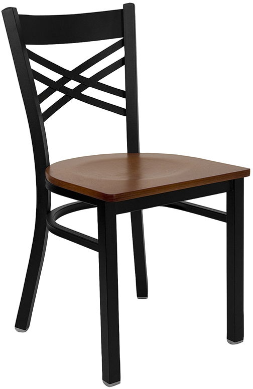 ERGONOMIC HOME TOUGH ENOUGH Series Black ''X'' Back Metal Restaurant Chair - Cherry Wood Seat