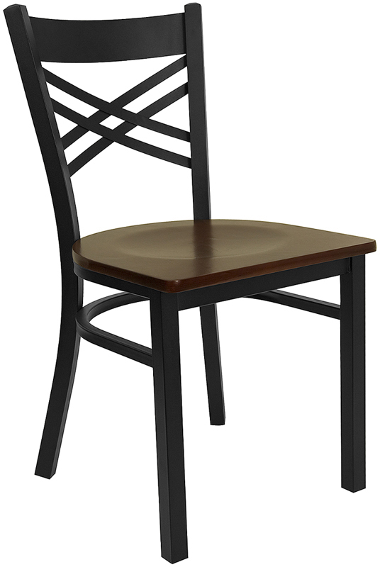 ERGONOMIC HOME TOUGH ENOUGH Series Black ''X'' Back Metal Restaurant Chair - Mahogany Wood Seat