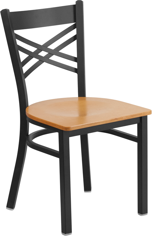 ERGONOMIC HOME TOUGH ENOUGH Series Black ''X'' Back Metal Restaurant Chair - Natural Wood Seat
