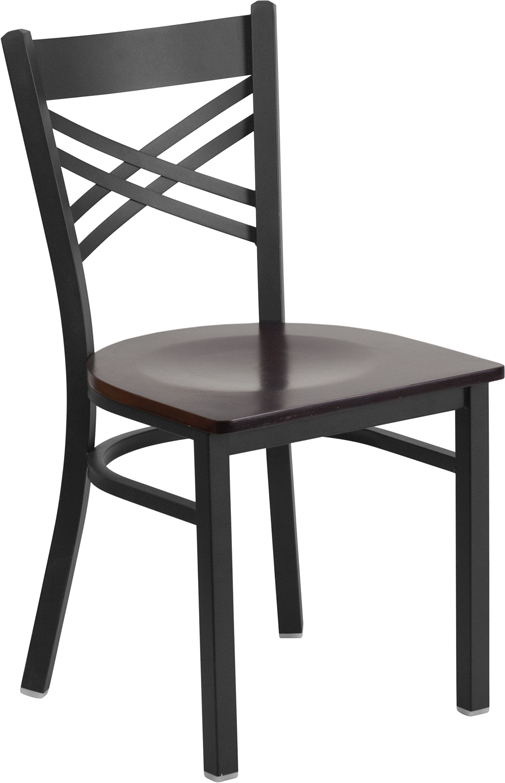 ERGONOMIC HOME TOUGH ENOUGH Series Black ''X'' Back Metal Restaurant Chair - Walnut Wood Seat