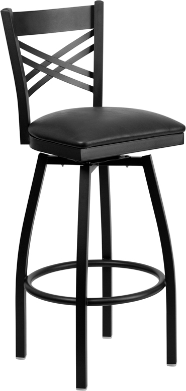 ERGONOMIC HOME TOUGH ENOUGH Series Black ''X'' Back Swivel Metal Barstool - Black Vinyl Seat