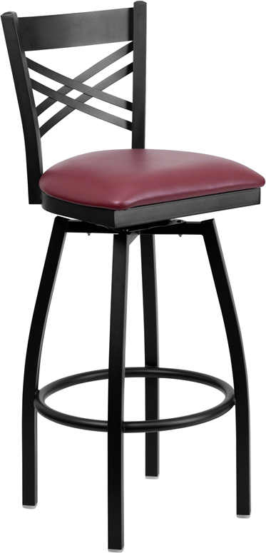 HERCULES Series Black ''X'' Back Swivel Metal Barstool - Burgundy Vinyl Seat