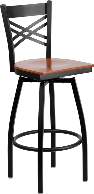 ERGONOMIC HOME TOUGH ENOUGH Series Black ''X'' Back Swivel Metal Barstool - Cherry Wood Seat