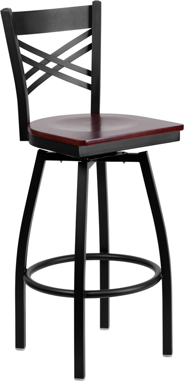 ERGONOMIC HOME TOUGH ENOUGH Series Black ''X'' Back Swivel Metal Barstool - Mahogany Wood Seat