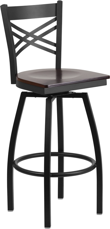 ERGONOMIC HOME TOUGH ENOUGH Series Black ''X'' Back Swivel Metal Barstool - Walnut Wood Seat