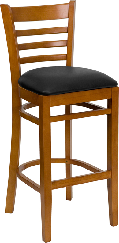 ERGONOMIC HOME TOUGH ENOUGH Series Cherry Finished Ladder Back Wooden Restaurant Barstool - Black Vinyl Seat <b><font color=green>50% Off Read More Below...</font></b>