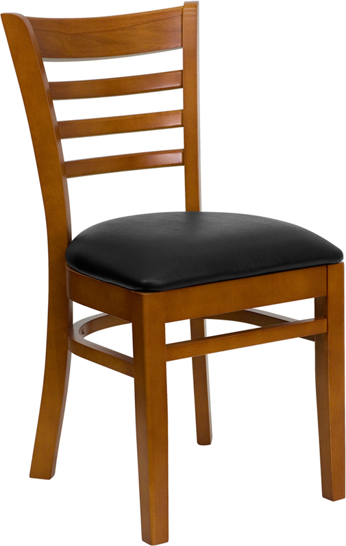 ERGONOMIC HOME TOUGH ENOUGH Series Cherry Finished Ladder Back Wooden Restaurant Chair - Black Vinyl Seat <b><font color=green>50% Off Read More Below...</font></b>