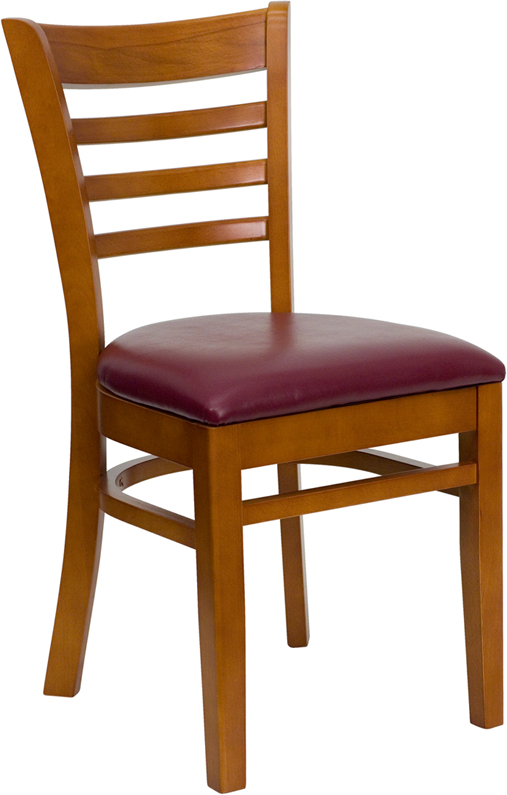 ERGONOMIC HOME TOUGH ENOUGH Series Cherry Finished Ladder Back Wooden Restaurant Chair - Burgundy Vinyl Seat <b><font color=green>50% Off Read More Below...</font></b>