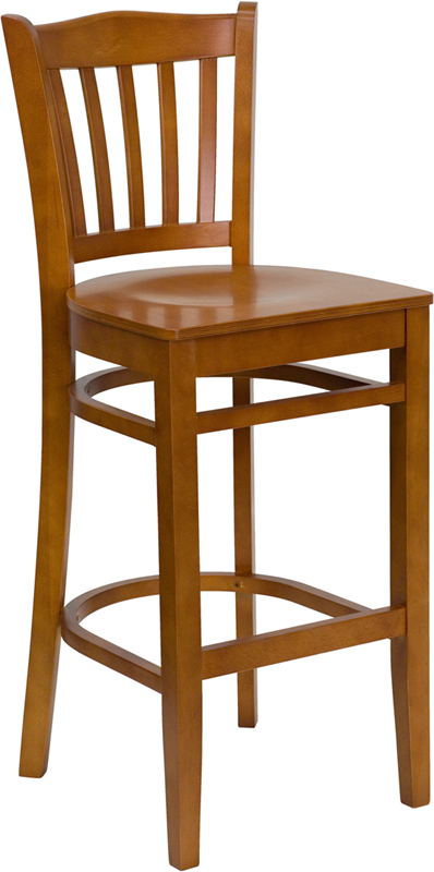 ERGONOMIC HOME TOUGH ENOUGH Series Cherry Finished Vertical Slat Back Wooden Restaurant Barstool <b><font color=green>50% Off Read More Below...</font></b>