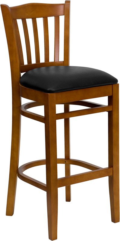 ERGONOMIC HOME TOUGH ENOUGH Series Cherry Finished Vertical Slat Back Wooden Restaurant Barstool - Black Vinyl Seat <b><font color=green>50% Off Read More Below...</font></b>