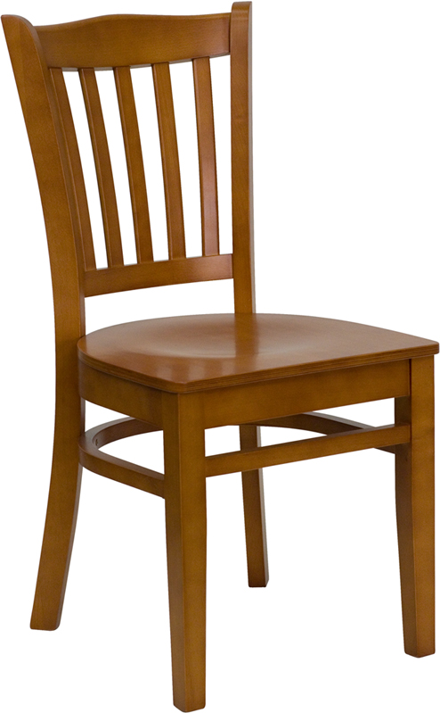 ERGONOMIC HOME TOUGH ENOUGH Series Cherry Finished Vertical Slat Back Wooden Restaurant Chair <b><font color=green>50% Off Read More Below...</font></b>