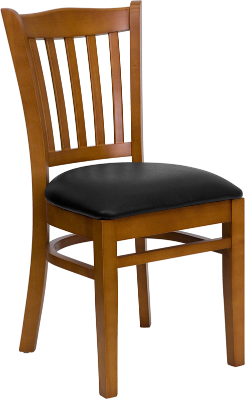 ERGONOMIC HOME TOUGH ENOUGH Series Cherry Finished Vertical Slat Back Wooden Restaurant Chair - Black Vinyl Seat <b><font color=green>50% Off Read More Below...</font></b>