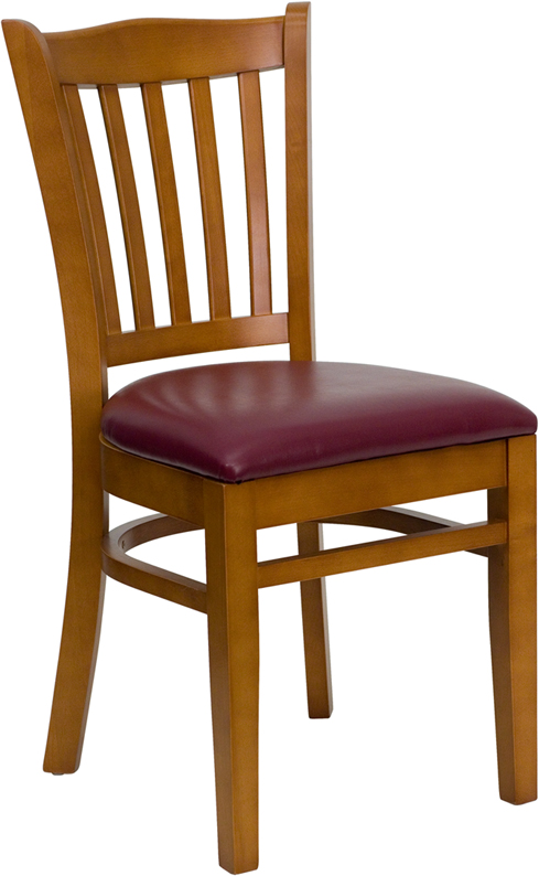 ERGONOMIC HOME TOUGH ENOUGH Series Cherry Finished Vertical Slat Back Wooden Restaurant Chair - Burgundy Vinyl Seat <b><font color=green>50% Off Read More Below...</font></b>