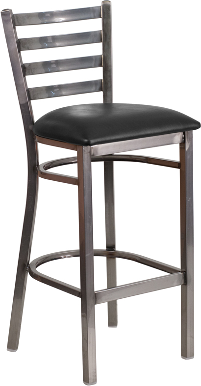 ERGONOMIC HOME TOUGH ENOUGH Series Clear Coated Ladder Back Metal Restaurant Barstool - Black Vinyl Seat <b><font color=green>50% Off Read More Below...</font></b>