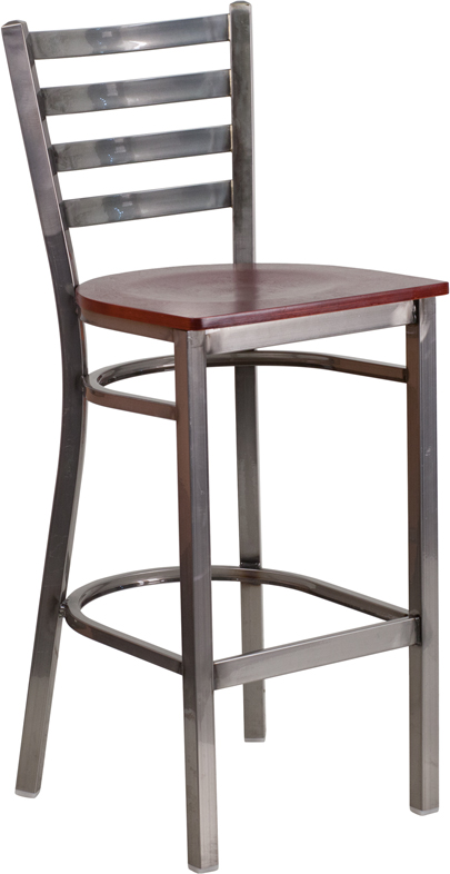 ERGONOMIC HOME TOUGH ENOUGH Series Clear Coated Ladder Back Metal Restaurant Barstool - Mahogany Wood Seat <b><font color=green>50% Off Read More Below...</font></b>
