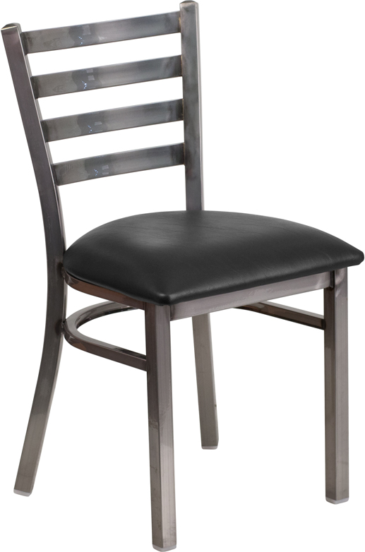 ERGONOMIC HOME TOUGH ENOUGH Series Clear Coated Ladder Back Metal Restaurant Chair - Black Vinyl Seat <b><font color=green>50% Off Read More Below...</font></b>