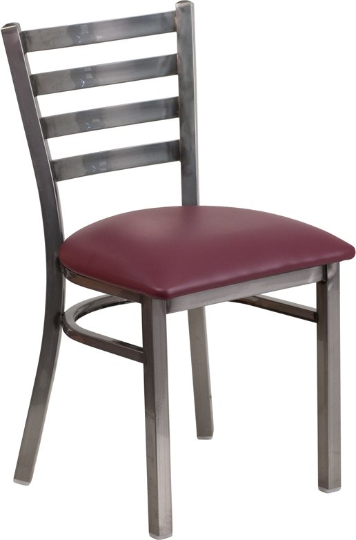 ERGONOMIC HOME TOUGH ENOUGH Series Clear Coated Ladder Back Metal Restaurant Chair - Burgundy Vinyl Seat <b><font color=green>50% Off Read More Below...</font></b>