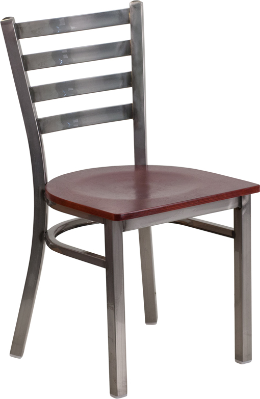 ERGONOMIC HOME TOUGH ENOUGH Series Clear Coated Ladder Back Metal Restaurant Chair - Mahogany Wood Seat <b><font color=green>50% Off Read More Below...</font></b>