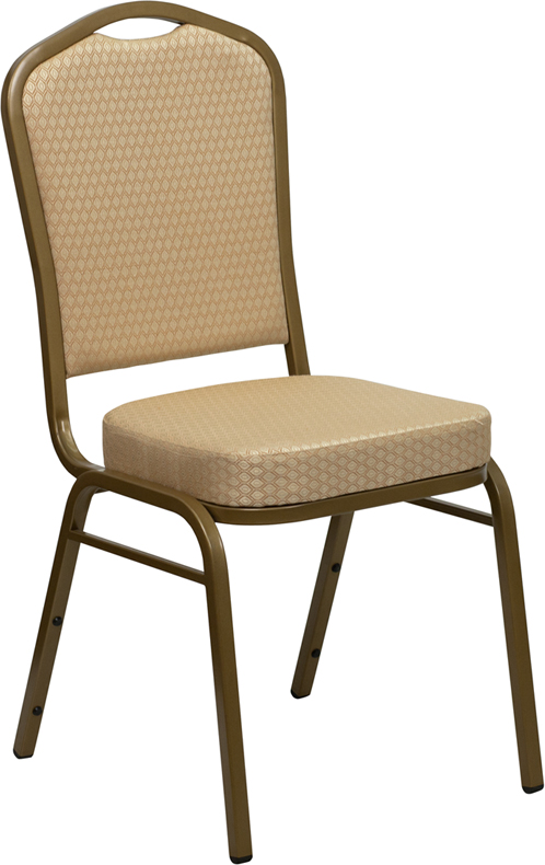 HERCULES Series Crown Back Stacking Banquet Chair with Beige Patterned Fabric and 2.5'' Thick Seat - Gold Frame