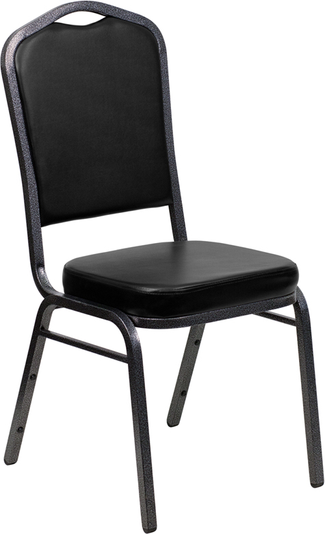 HERCULES Series Crown Back Stacking Banquet Chair with Black Vinyl and 2.5'' Thick Seat - Silver Vein Frame