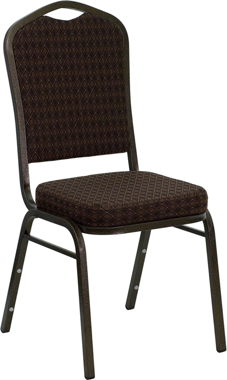 TOUGH ENOUGH Series Crown Back Stacking Banquet Chair with Brown Patterned Fabric and 2.5'' Thick Seat - Gold Vein Frame NG-C01-BROWN-GV-GG