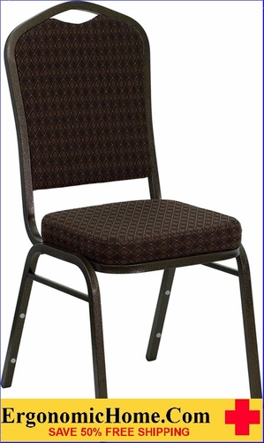 Ergonomic Home TOUGH ENOUGH Series Crown Back Stacking Banquet Chair with Brown Patterned Fabric and 2.5'' Thick Seat - Gold Vein Frame EH-NG-C01-BROWN-GV-GG <b><font color=green>50% Off Read More Below...</font></b>
