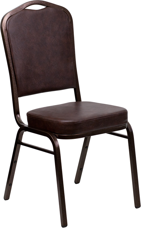 HERCULES Series Crown Back Stacking Banquet Chair with Brown Vinyl and 2.5'' Thick Seat - Copper Vein Frame