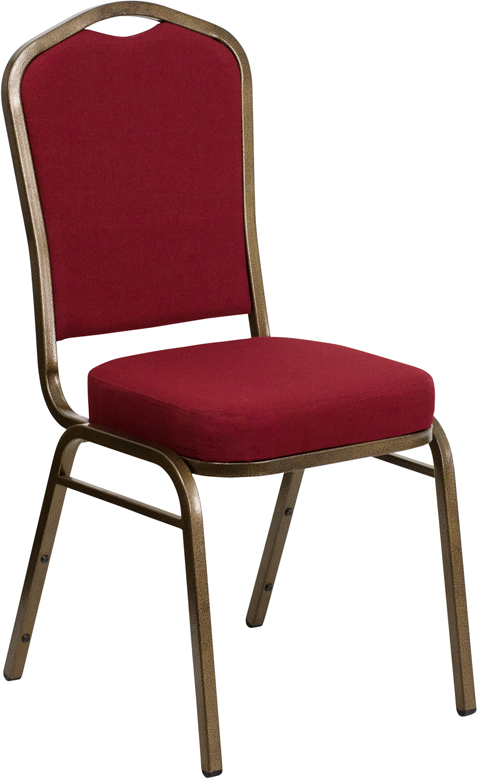 HERCULES Series Crown Back Stacking Banquet Chair with Burgundy Fabric and 2.5'' Thick Seat - Gold Vein Frame