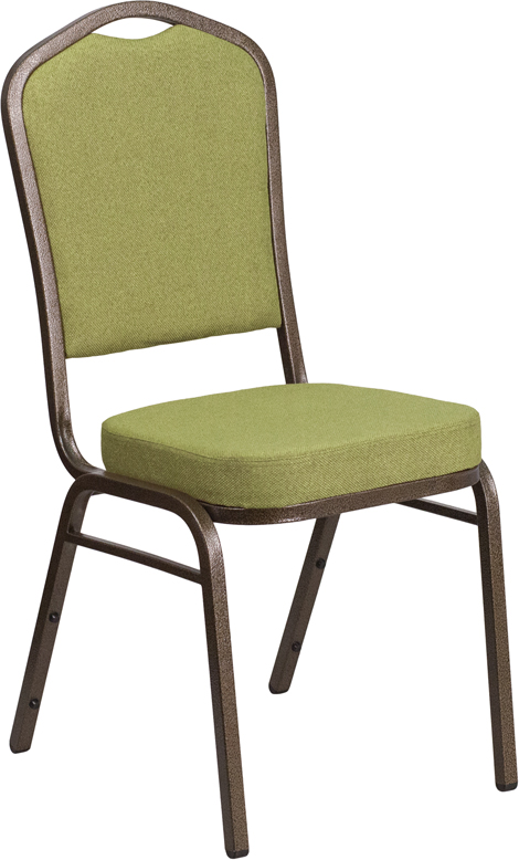 HERCULES Series Crown Back Stacking Banquet Chair with Citron Fabric and 2.5'' Thick Seat - Gold Vein Frame