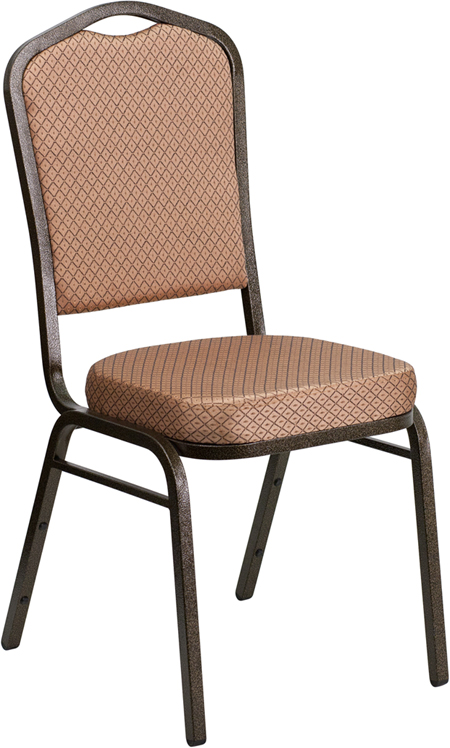 HERCULES Series Crown Back Stacking Banquet Chair with Gold Diamond Patterned Fabric and 2.5'' Thick Seat - Gold Vein Frame