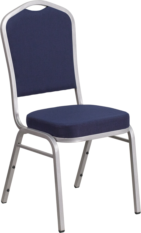 HERCULES Series Crown Back Stacking Banquet Chair with Navy Fabric and 2.5'' Thick Seat - Silver Frame