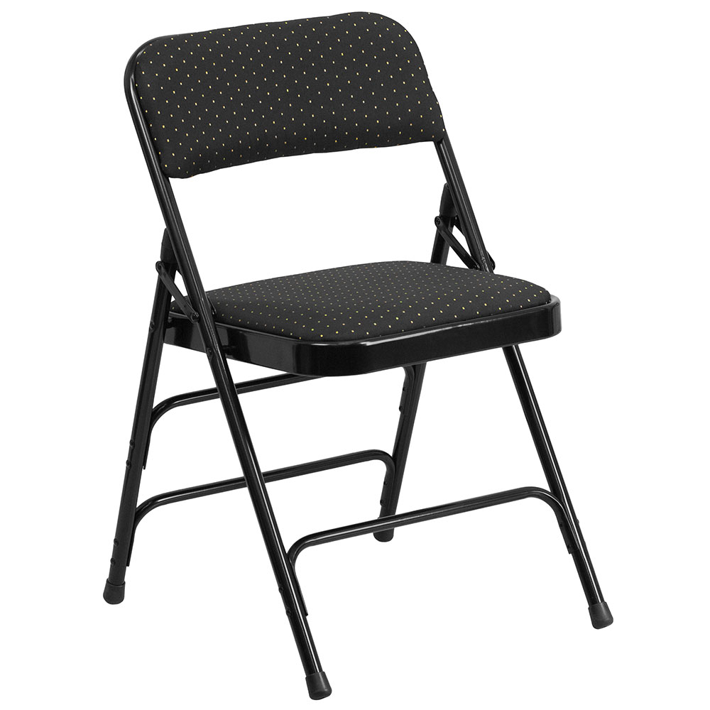 HERCULES Series Curved Triple Braced & Double Hinged Black Patterned Fabric Upholstered Metal Folding Chair</font></b>