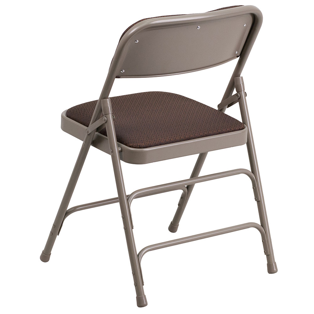 Beau TOUGH ENOUGH Metal Folding Chair Series Curved Triple Braced U0026 Double  Hinged Brown Patterned Fabric Upholstered. Read More Below