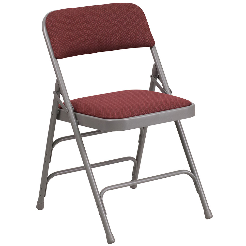 HERCULES Series Curved Triple Braced & Double Hinged Burgundy Patterned Fabric Upholstered Metal Folding Chair</font></b>