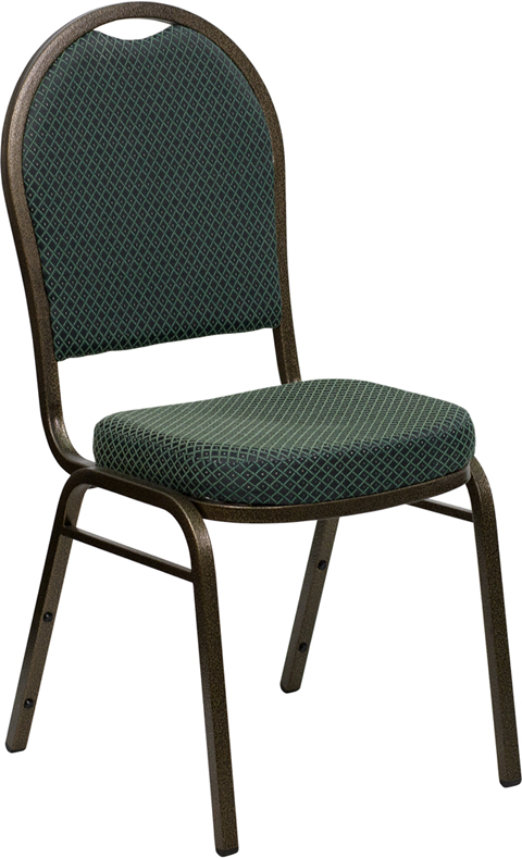 HERCULES Series Dome Back Stacking Banquet Chair with Green Patterned Fabric and 2.5'' Thick Seat - Gold Vein Frame